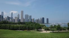 Grant Park avec la ville de Chicago en arrière plan.