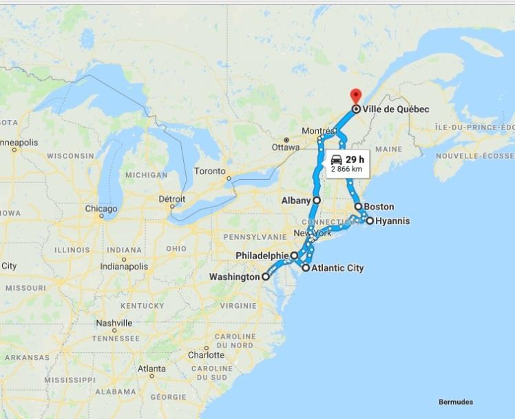 Road-trip US East Coast - Itinerary